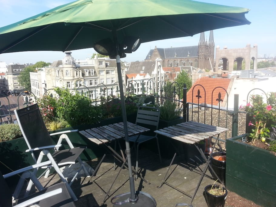 Private roof terrace with fabulous view over Amsterdam