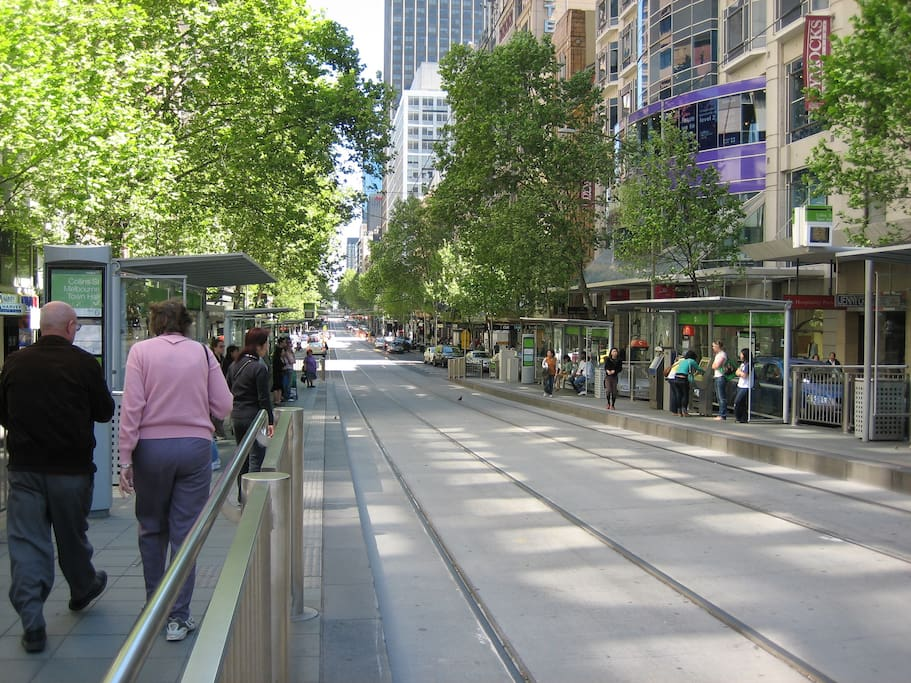 Tram stop out the front of our apartment building on Collins street. PRIME location.
