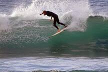 Surfing at Mosteiros port