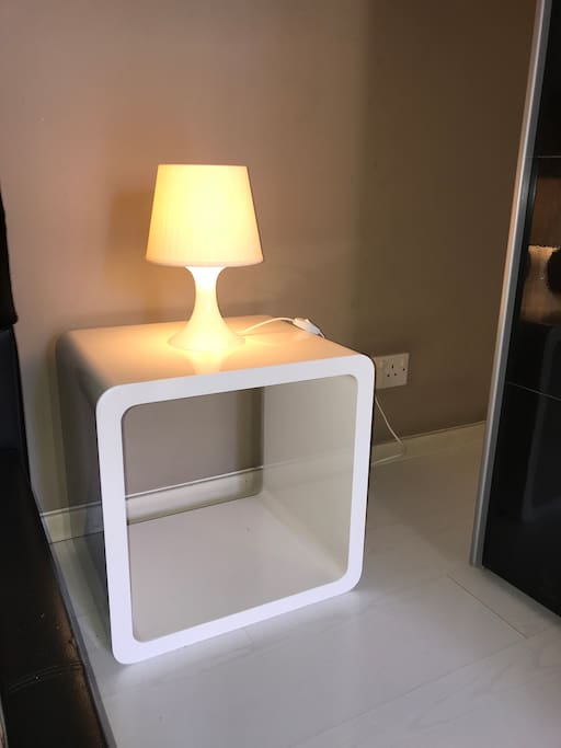 Bed side table with lamp
