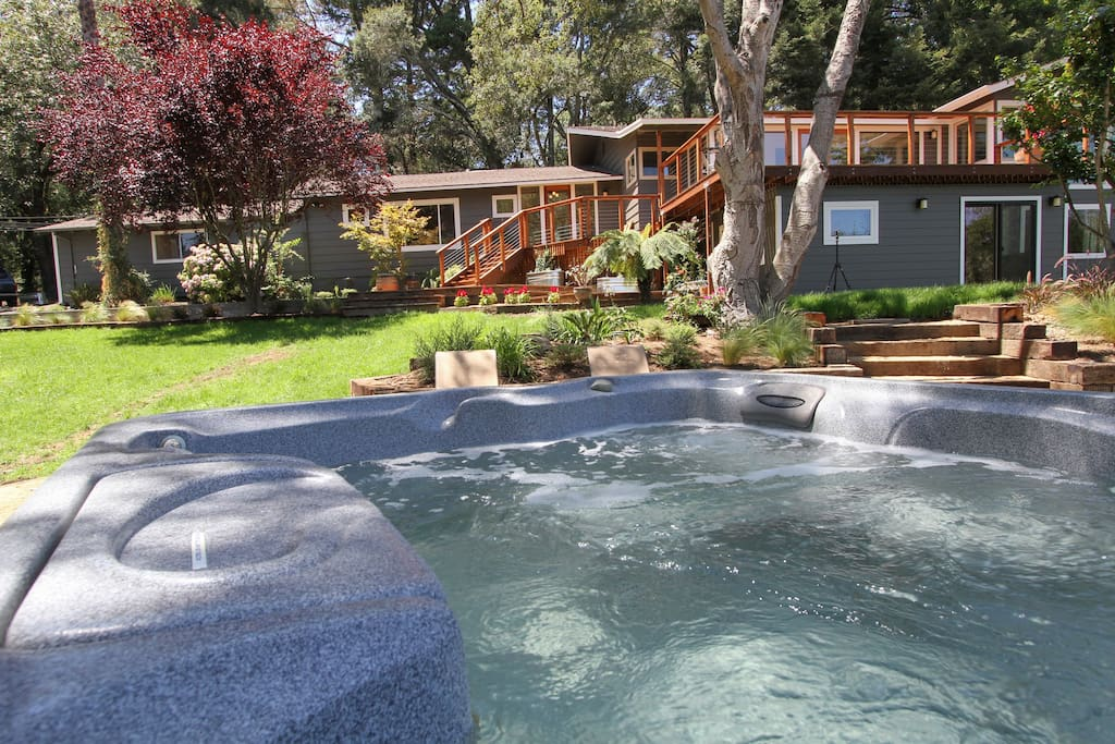 Relax in the hot tub after a fun day of floating down the Russian River, Wine tasting or a day at the beach