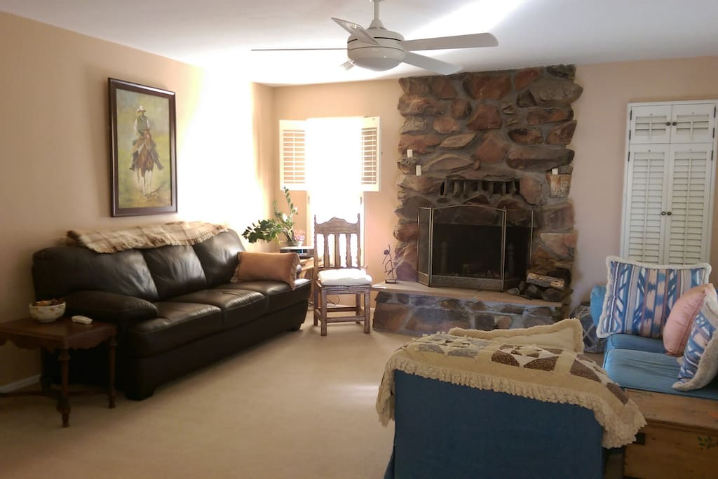 Very comfortable living area and wood fireplace. Built old style 1950s hand rock construction