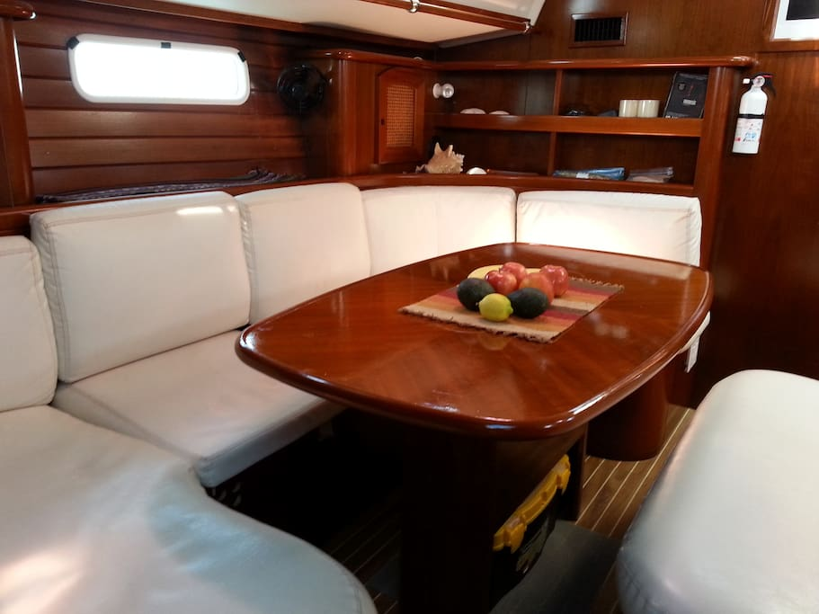 Comfortable seating for 6-8 for meals. Wine storage in table!