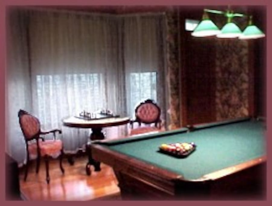 Game Room with Pool table and Chess set
