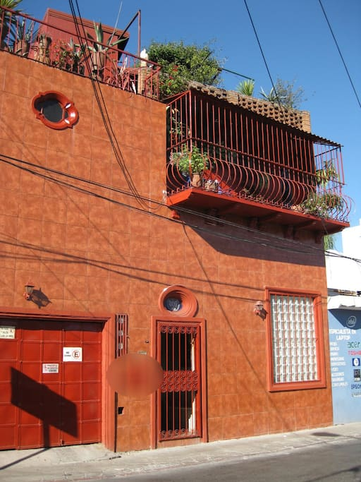 Your Host Inn Cuernavaca as seen from the street.  The balcony is part of the upstairs Frida Kahlo suite.