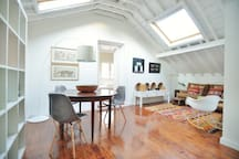 The two big roof windows fill the living room with lots of light all day long.