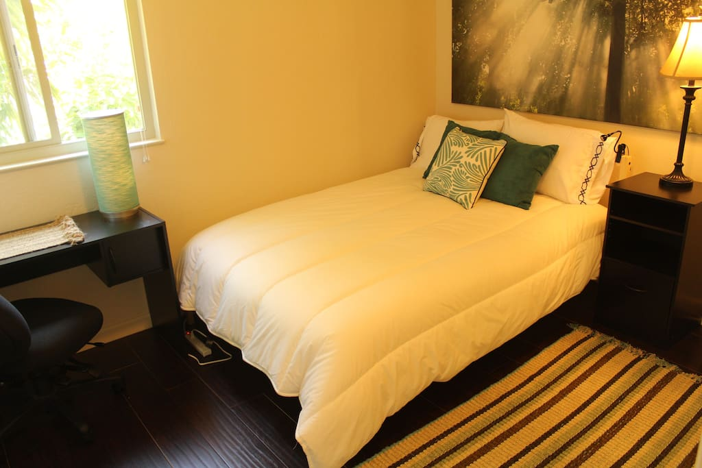Welcome to Monk's Nook! This room includes a Full Size Bed, nightstand, and office desk and chair. The perfect room for focus and relaxation to effectively evoke your intentions and fulfill your objectives.