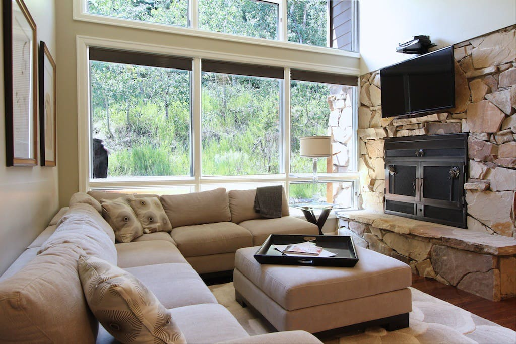 Large screen TV with DVD, TiVo, Chromecast and a cozy fireplace