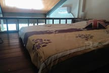 Loft has a double bed, sheets are provided for.