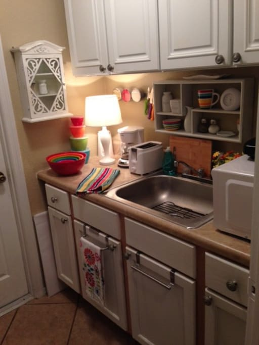 Kitchenette with Coffee maker, microwave, toaster and everything you need!