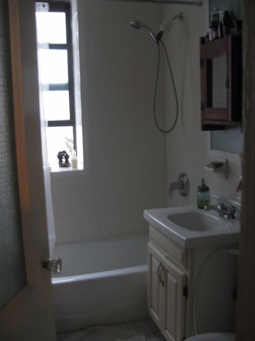 Bathroom is clean and bright with good water pressure and plenty of hot water. There is a washer and dryer in the apartment.