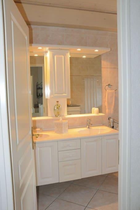 SDB 2 lavabos, grand miroir, douche tropicale