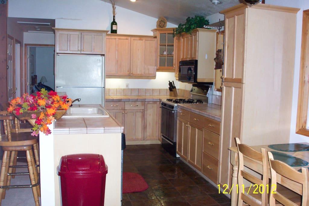 Kitchen with dishwasher, large refrigerator, microwave