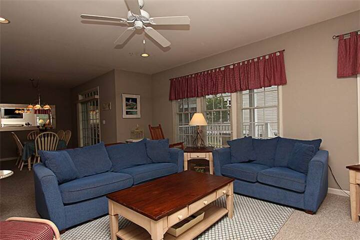 family room - open to dining area & kitchen, some decor updates since photo!