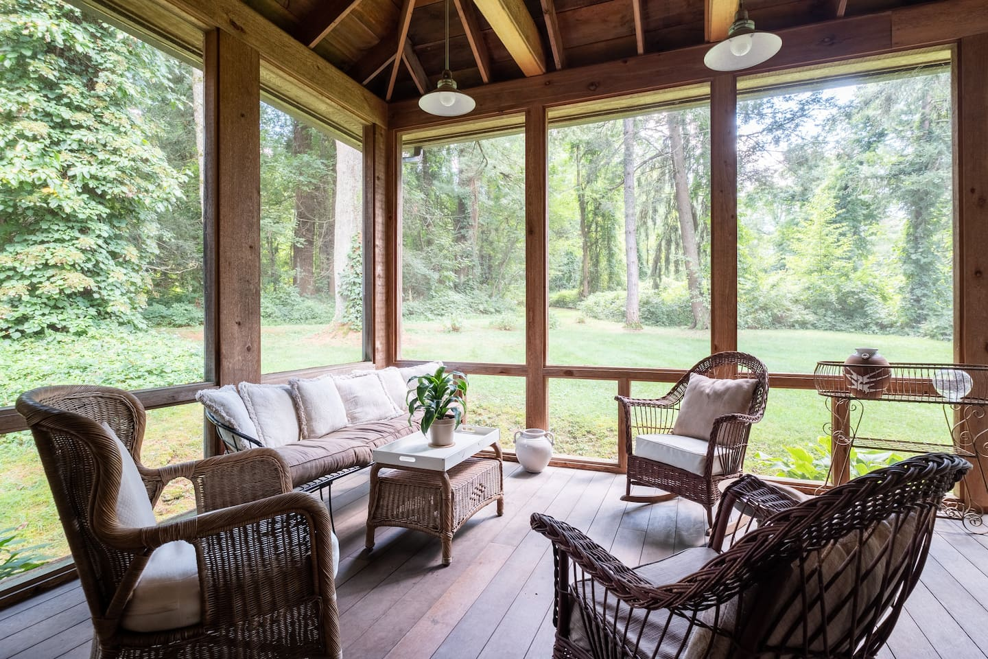 Enjoy tranquil nature privately on the very large screened porch. (No rain, no bugs, no visible neighbors.)
