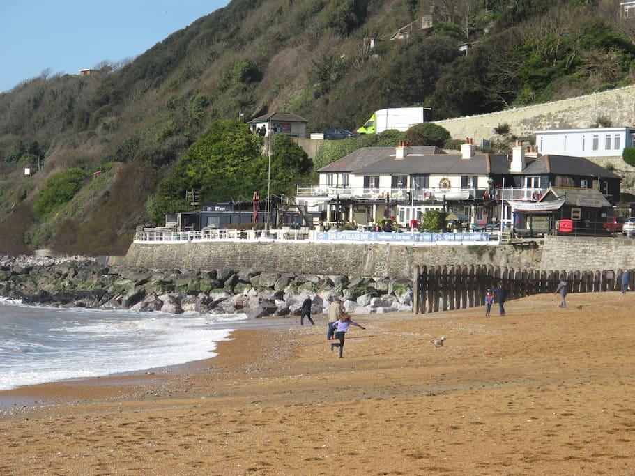 Ventnor beach, a short walk down the hill...
