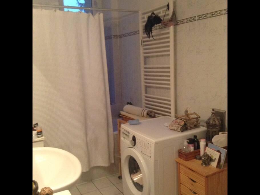Bathroom , shower , bath , sink , toilet and washing machine