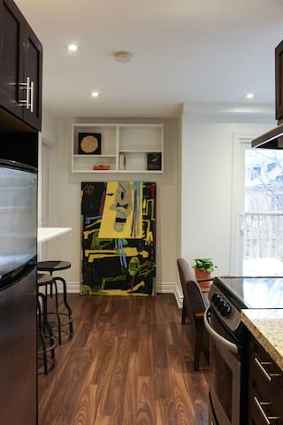 Kitchen, dining, and living area
