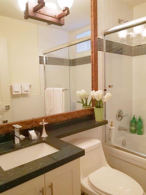 Full Set Bathroom: Shampoo, conditioner, Body washer, Bar soap, hair dryer, towels, tooth brush holder