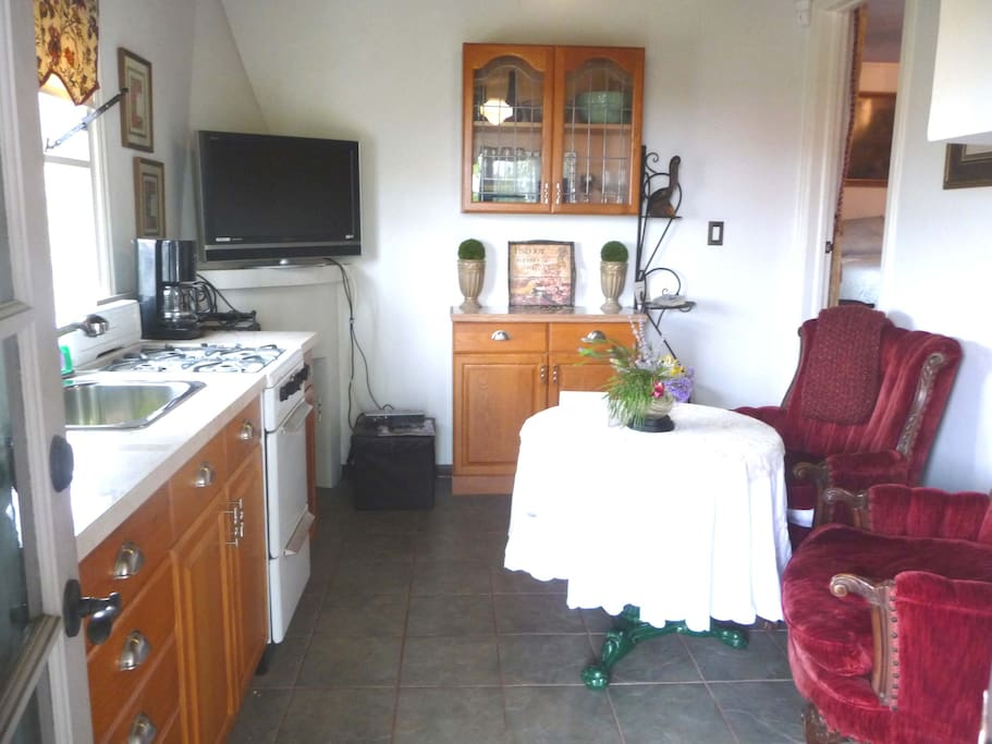The Kitchenette with TV, Internet & Views to the Harbor