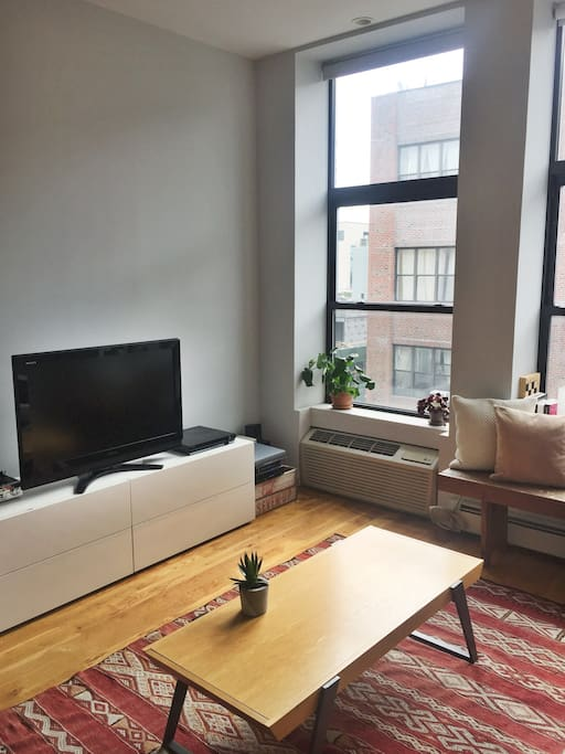 Spacious and light-filled living room of the apartment in the heart of Williamsburg, Brooklyn.
