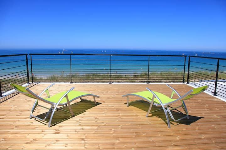 Villa de la plage de Plouescat, seaview, jacuzzi