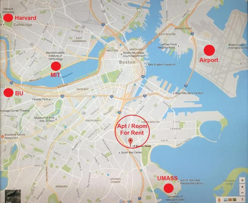 Proximity of Boston Schools and the Airport to our Studio.
