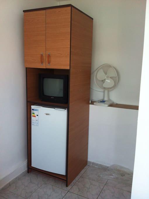 3 in 1, cabinet, TV, fridge