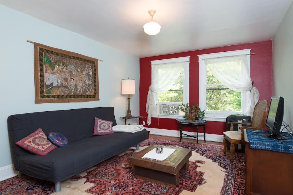 Spacious livingroom with a comfortable Ikea sleeper sofa