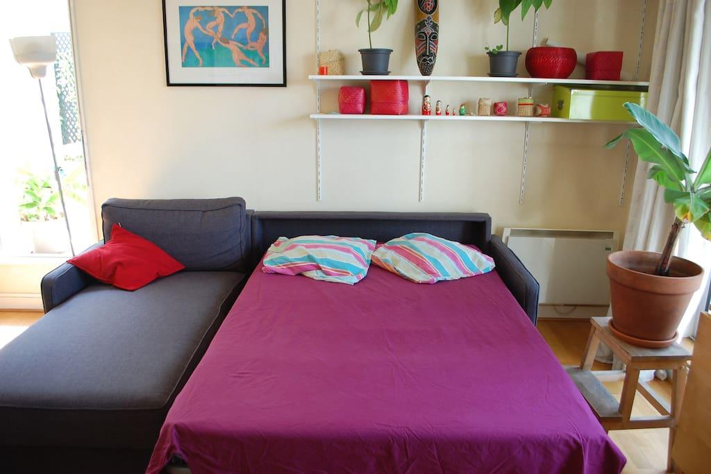 Le salon donne sur la terrasse. Le canapé contient un lit pour 2 personnes.