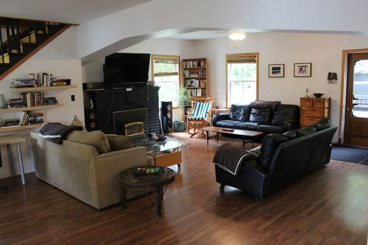 3 comfortable couches, fireplace, flat screen, Netflix included.