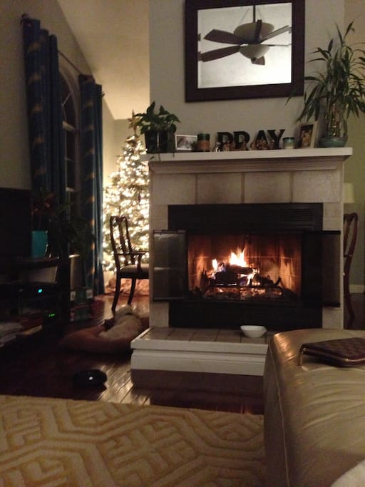 Wood burning fireplace!
