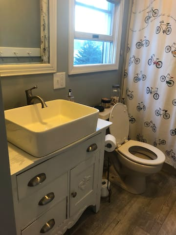 Upstairs bathroom, just remodeled with new flooring, paint, and vanity.