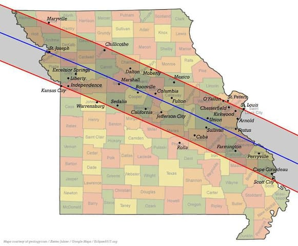 Path of eclipse.  I am just north of Liberty