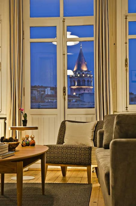 Living Room with Galata Tower view at night