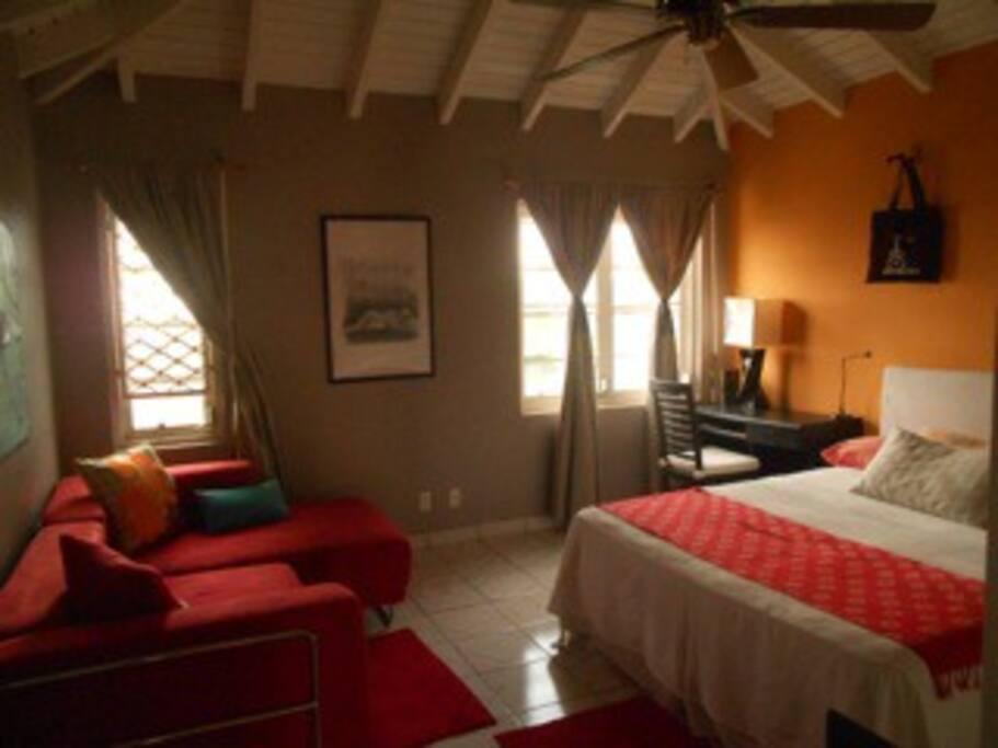 guestroom w/L shaped sofa.