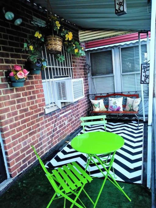 Sip coffee or tea on the private back porch!