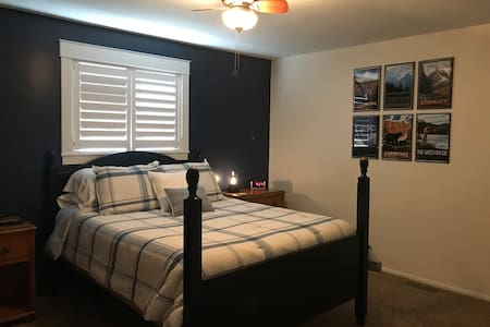 A comfortable bedroom near Crystal Hot Springs