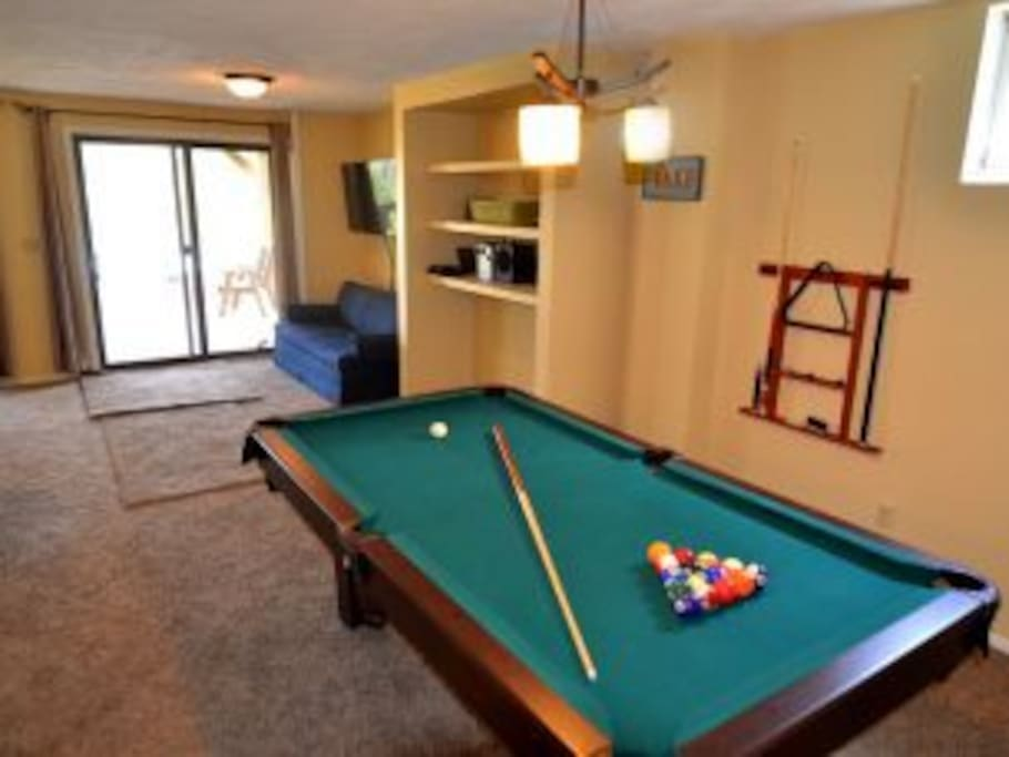 Pool table in lower level - just updated with new professional table in 2016.
