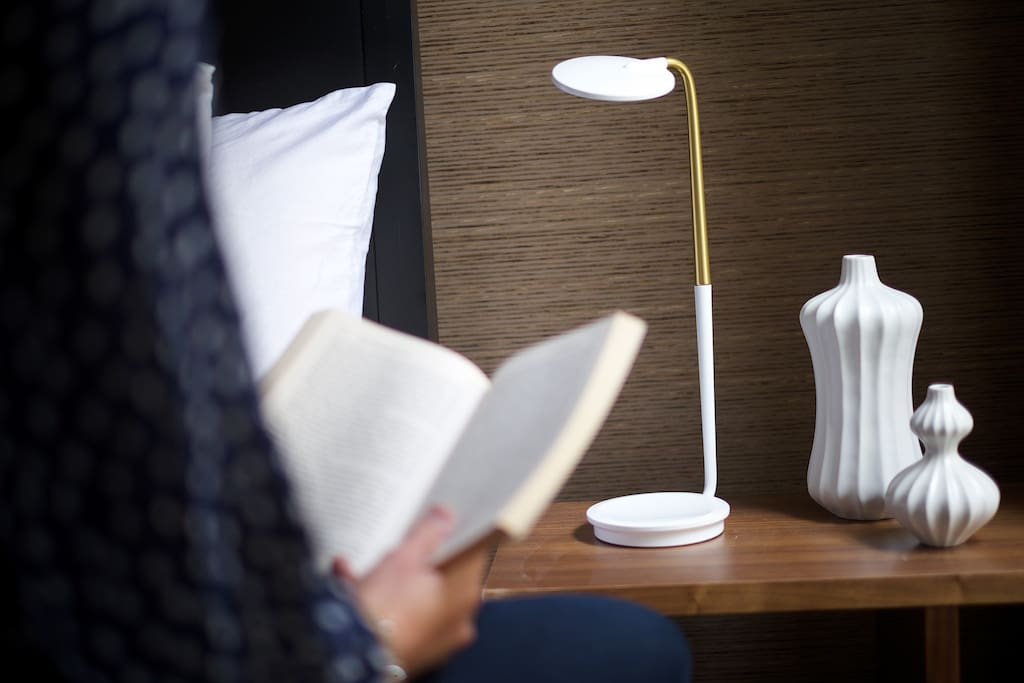 Modern lighting with built-in USB chargers.