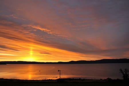 Midnight sun by Trondheim fjord