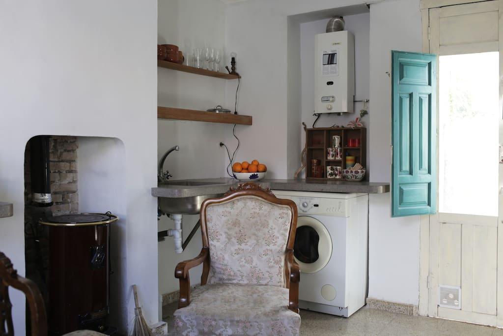 Kitchen and wood-burning stove