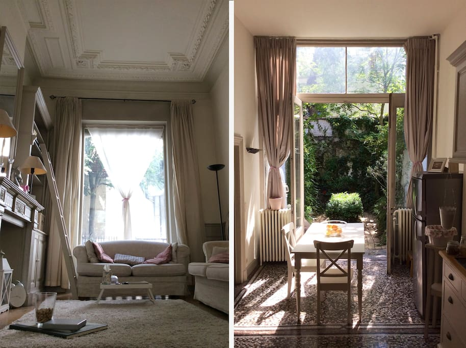 The upper floor featuring grand salon, kitchen and diner, guest bedroom and the private garden.