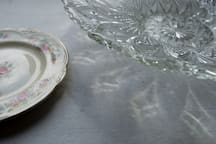 Tradition in the West of Ireland when a house is sold: to pass on something that belongs to the house. This crystal bowl is a pass along, and has belonged to the house for the past 3 generations