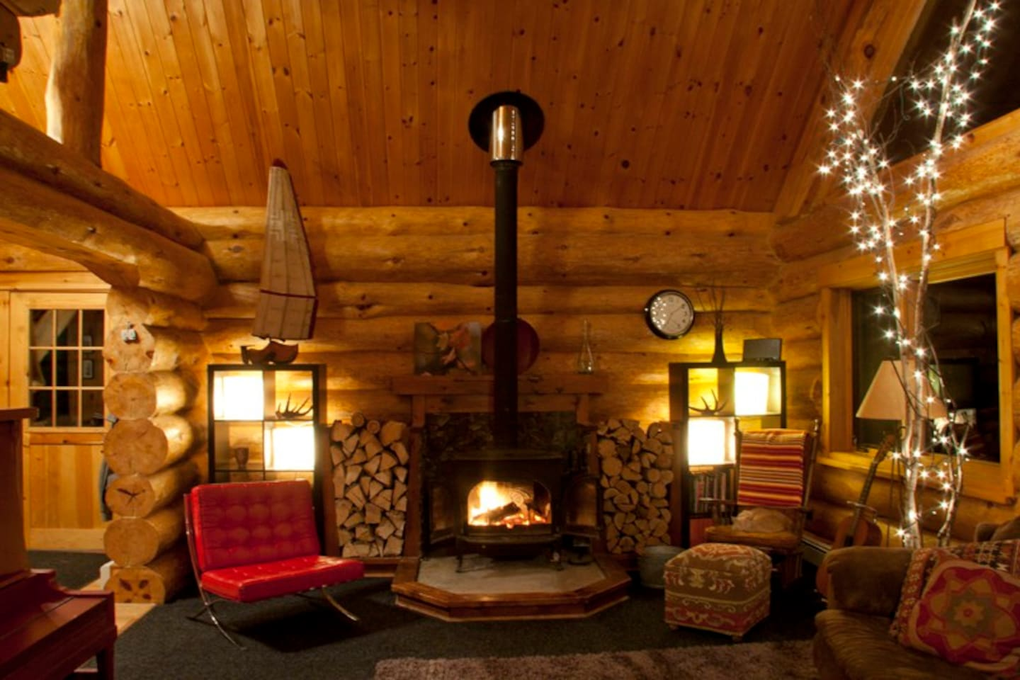 Relax by the wood-burning stove year-round with plenty of firewood