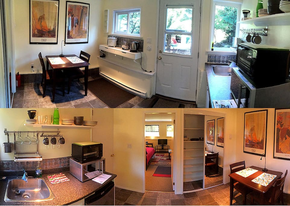 The bright kitchen opens onto the tree-filled yard.