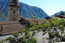 View to the bell tower of St Bartolomeo from seating outside the apartment
