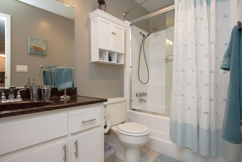 Hot water 24/7- this is your own private bathroom with bathtub and shower, towels included.
