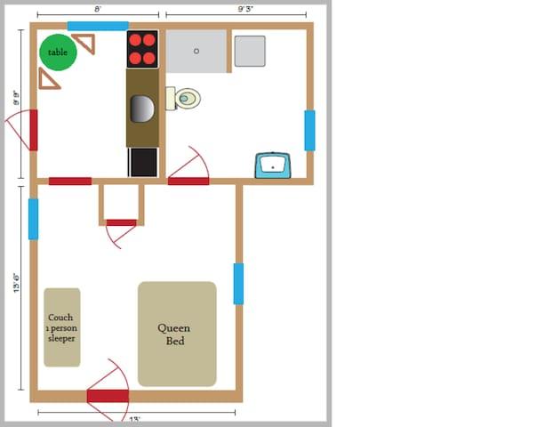 Floor plan of the guest suite.
