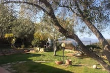 giardino con barbecue di fronte al soggiorno della villa